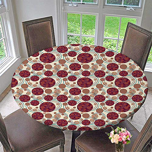 Mikihome Simple Modern Round Table Cloth Decor Dynamic Ring Spherical Disco Balls Dot and Stripes Swirls Display Maroon Beige for Daily use, Wedding, Restaurant 50