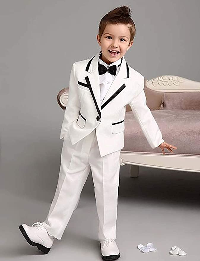 yeoyaw Boys Slim Fit Blue 2pcs Jacket Pants Classic Tuxedo Suits Wedding Party Ceremony