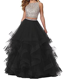 KaBuNi Womens Gorgeous Two Pieces Quinceanera Dresses Ruffles Long Prom Dresses