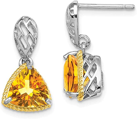 925 Sterling Silver Rhodium-plated Citrine Dangle Post Earrings
