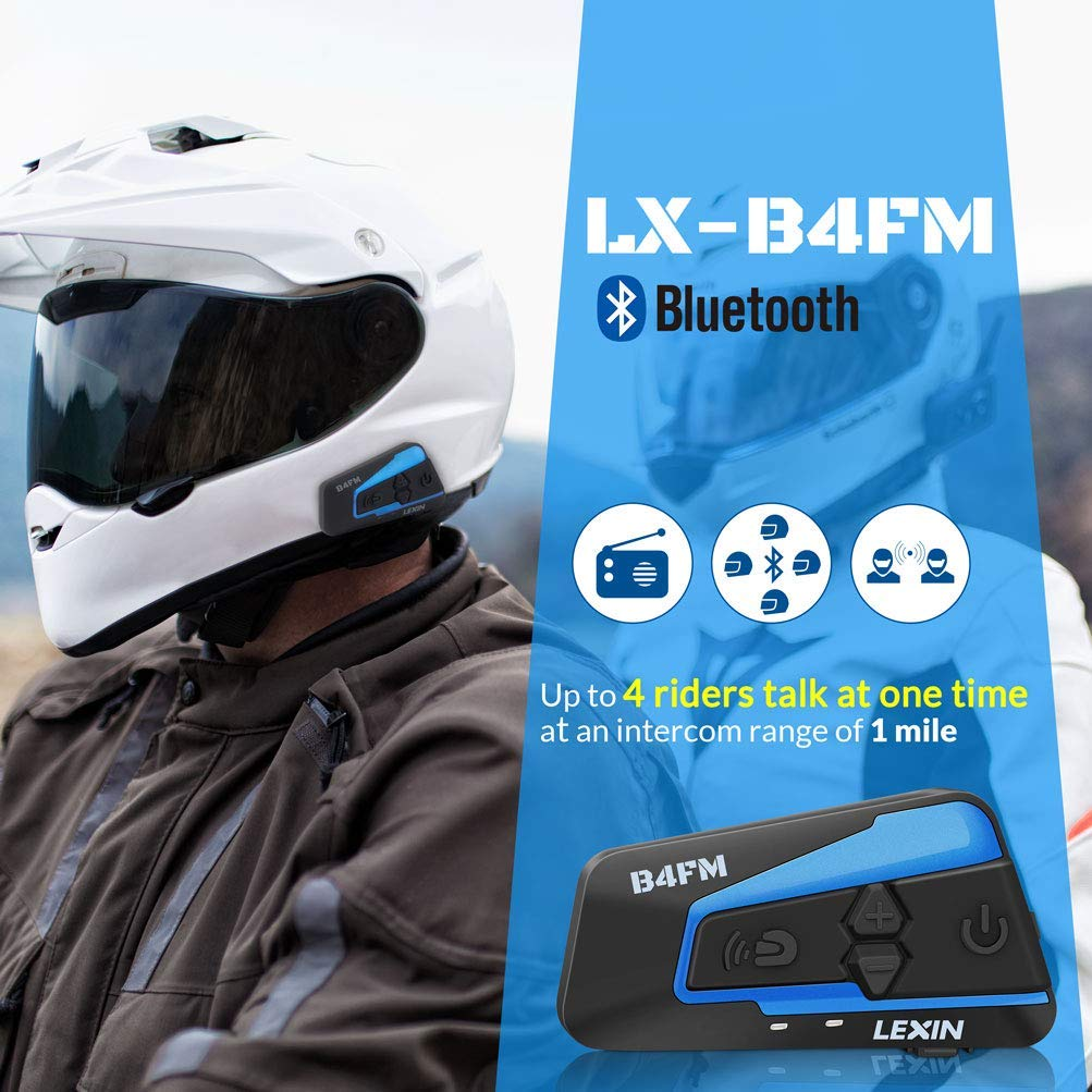 Motorcycle Helmet Bluetooth Headset Communication With Noise Cancellation Up to 4 Riders Off-road//Motorcycle Wireless Helmet Audio LEXIN 2pcs B4FM Motorcycle Bluetooth Intercom with FM Radio