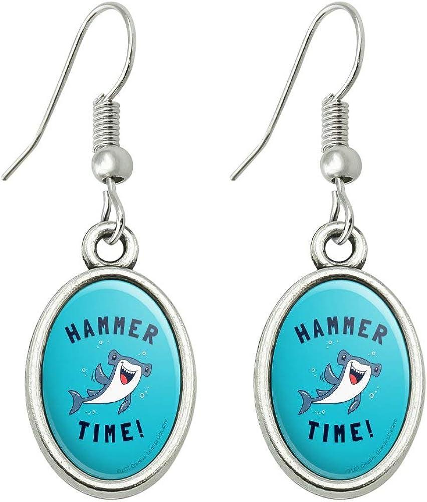 GRAPHICS & MORE Hammerhead Shark Hammer Time Funny Humor Novelty Dangling Drop Oval Charm Earrings