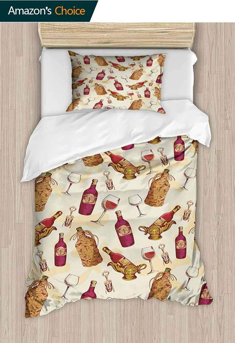 Winery Printed Duvet Cover and Pillowcase Set, Vintage Pattern with Glass Bottle Corkscrew Country Restaurant Table, Duvet Cover with Pillowcases Child Bedding Sets 2 Piece, 39 W x 51 L Inches by carmaxshome