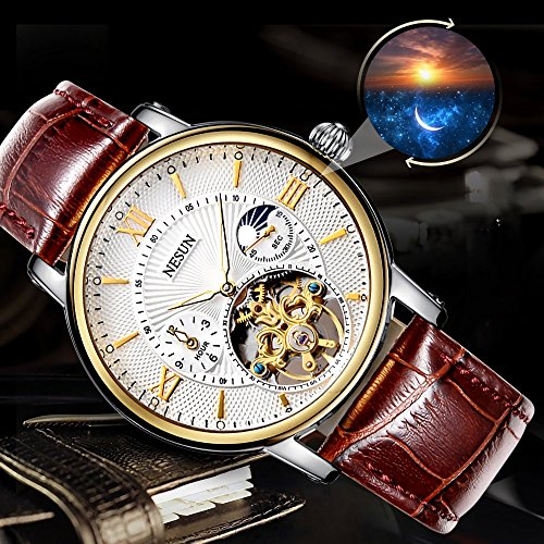 Complications Men's Business Automatic Mechanical Skeleton Casual Watch with Leather Band (Brown Band-White Gold) by NESUN (Image #3)