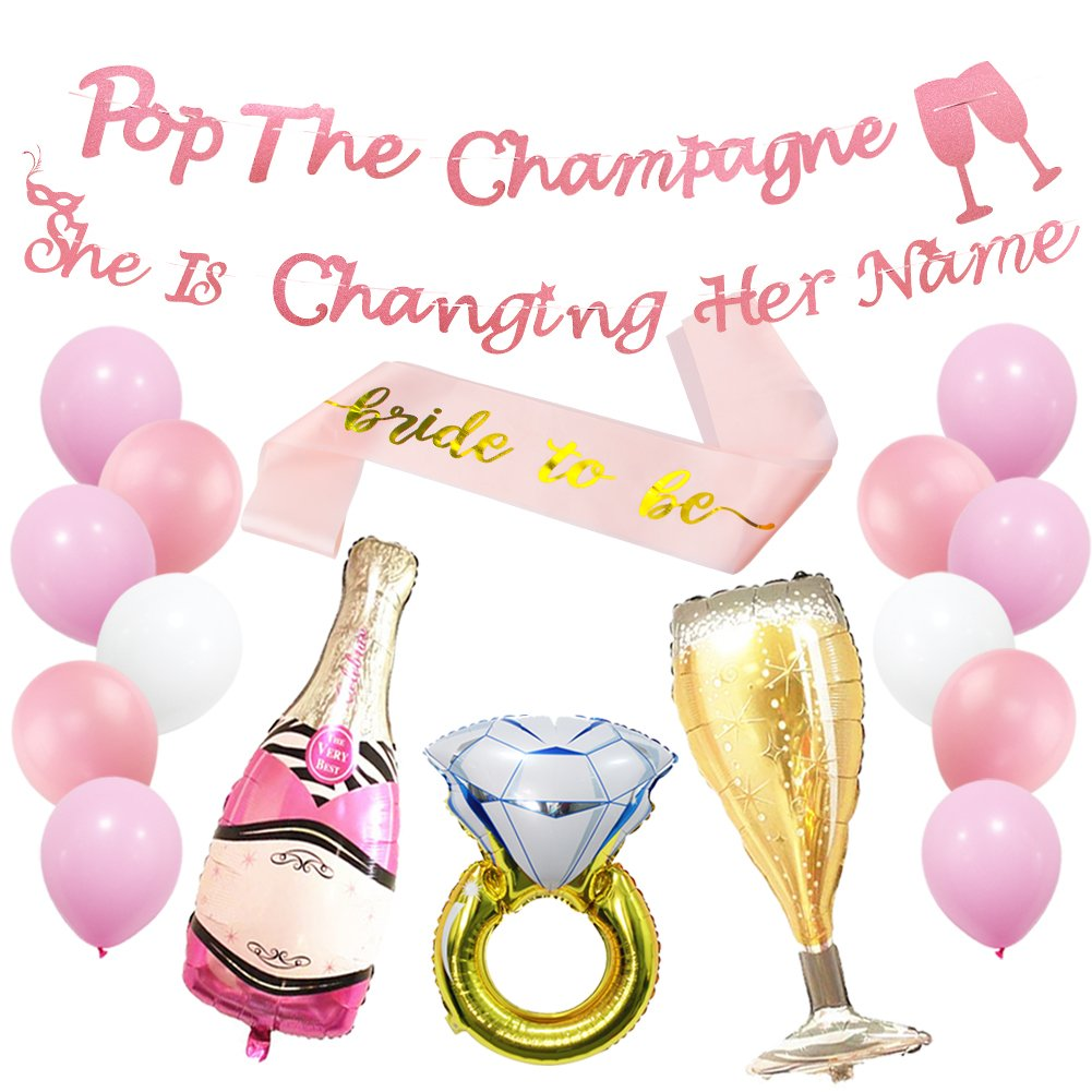 Pop the Champagne She's Changing Her Name Banner for Bridal Shower, Bachelorette Party Decorations Supplies with Ring Foil Balloon Bride to Be Sash