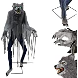 Halloween Holiday Outdoor Yard Animatronic Decor 7 Ft. Towering Werewolf Light Up Eyes and Sound