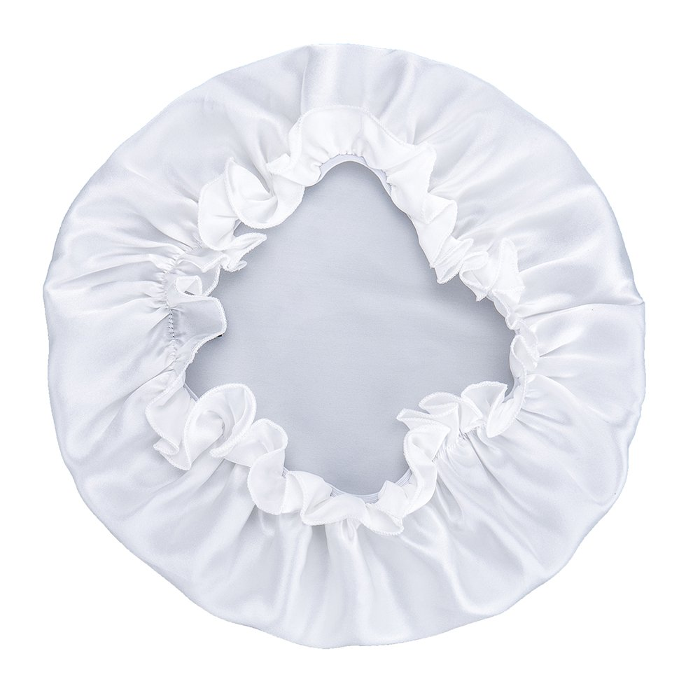 FMS Premium Silk Satin Hair Bonnet Women Night Cap Mulberry Silk Wrap for Hair Head Scarf for Sleeping (White)