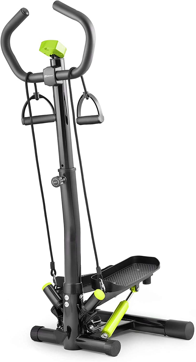 Hop-Sport Swing Side Stepper HS-055S mit verstellbarem Haltegriff Trainingsbändern Computer verstellbare Tritthöhe (Schwarz-hellgrün): Amazon.de: Sport & Freizeit - Swing Stepper
