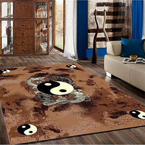 (Mybecca New Fun Theme Dragon YIN-YANG Style Area Rugs Contemporary Carpet 5' x 7' approximate (5'2