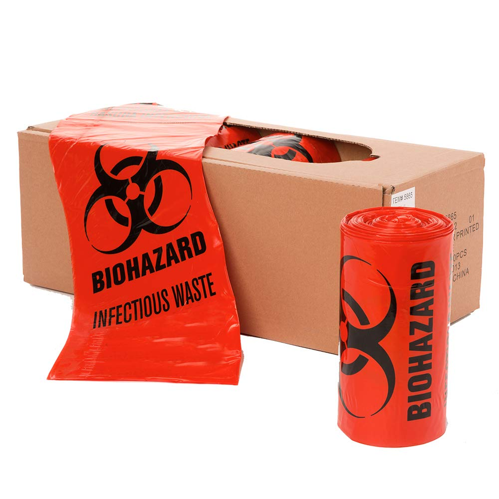 APQ Pack of 25 Red Biohazard Liners 40 x 48 Thickness 16 Micron. 55-75 LB Disposable HDPE Bags 40x48. Pre-Printed Poly Bags for Disposing Medical Waste. Plastic Bags for Healthcare Applications. by APQ Supply