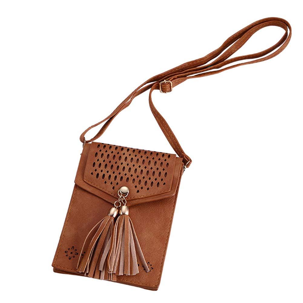 CYNDIE Women Retro Hollow Design PU Casual Satchel for Coin Phone Storage Black