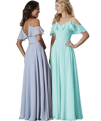liangjinsmkj Women s Off Shoulder Chiffon Bridesmaid Dresses Long Ruffles  Evening Gown Aqua US2 d0192b32f8f6