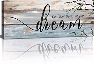 Inspirational Dream Motto Wall Art, Your Future Depends On Your Dream, Rustic Twig Tree Wood Pannel Picture Vintage Canvas Print for Office Living Room Classroom Framed Wall Decor Artwork 6x18 inch