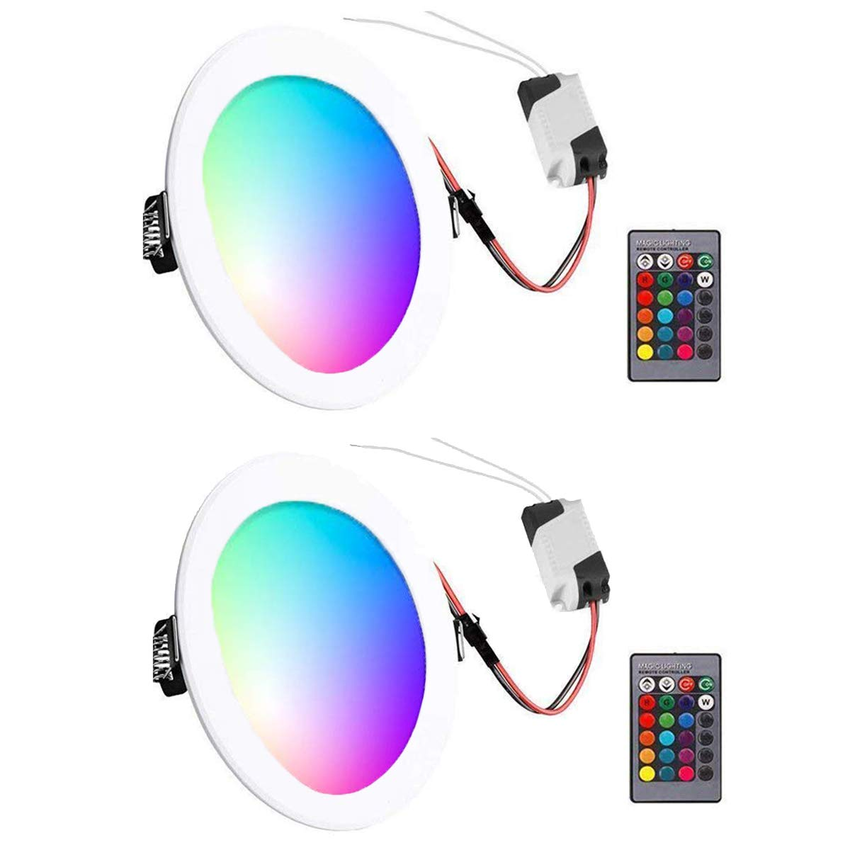 RGB Led Panel Light,Abedoe 5W Ultra Thin 16 Colors Adjustable Ceiling Downlight Fixture Round Concealed Mounted with Remote Control and Driver,AC 85-265V (2 Pack)
