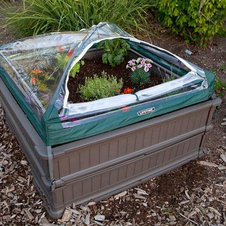 Lifetime 4' x 4' Raised Garden Bed, 2pk with 1 Tent, Brown by Green Garden