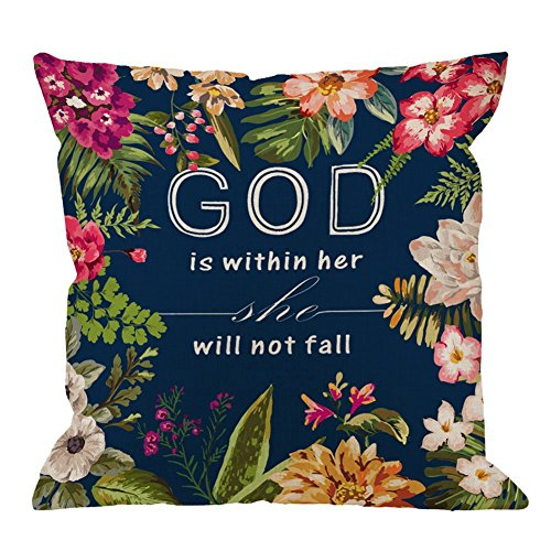 Bible Verses Quotes Pillow Covers Flowers Throw Pillows Cotton Linen Square Home Decorative Cushion Covers For Sofa 18x18 inch (God Is Within Her She Will Not Fall, 18 x 18)