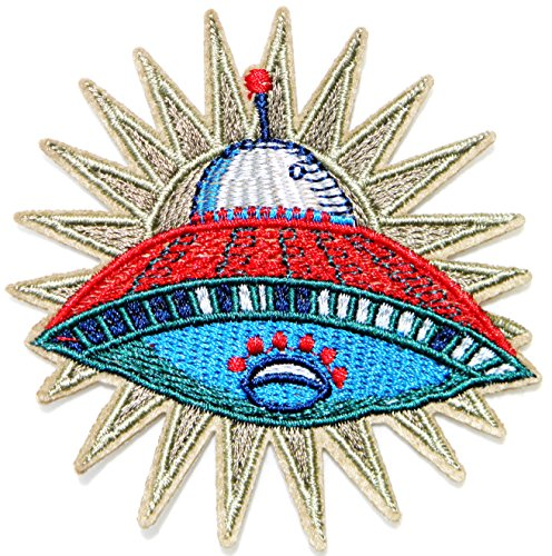 UFO Space Ship Alien Nasa Space Galaxy Sign Logo Badge Emblem Patch Sew Iron on Embroidered Applique Craft Handmade DIY Girl Women Sexy Lady Cloth Jacket Hoodie Costume