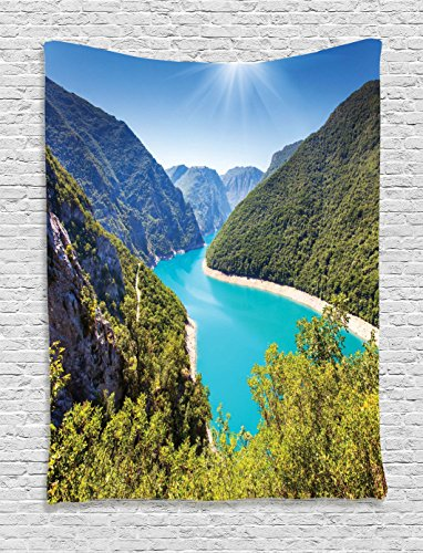 (Ambesonne Mountain Tapestry Lake House Decor, The Piva Canyon with Its Reservoir Montenegro Balkans Sunlights Mountain River Picture, Bedroom Living Room Dorm Wall Hanging Tapestry, Teal Blue)
