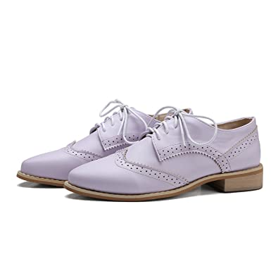 7d2ad8b8f548 Image Unavailable. Image not available for. Color  Habitaen Soft Leather Women  Shoes Lace Up Flat Pointed Toe Patent Leather White Oxfords Women Casual