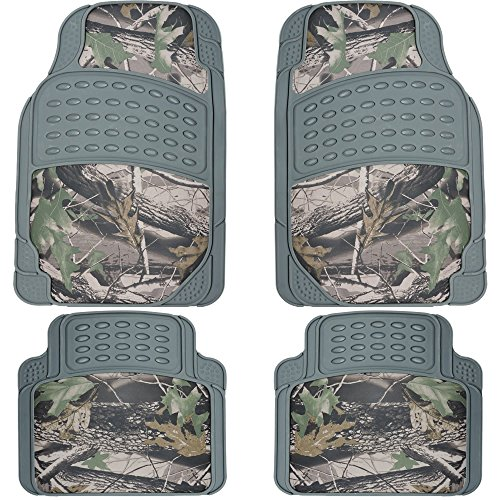 U.A.A. Inc. 4pc Front Rear Rubber Floor Mats Set Camouflage Jungle Forest Hunting Camo Car Truck (gray)