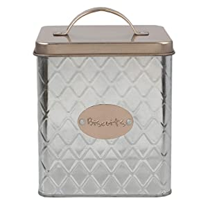 Home Basics Arbor Collection Diamond Embossed Textured Tin Holder (Biscuits Canister)