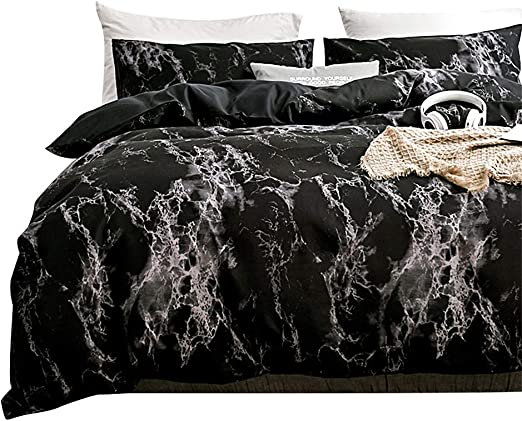 2 PILLOWCASE 3 PCS GREY MARBLE KING SIZE DUVET COVER DOUBLE BLACK BEDDIGN SET