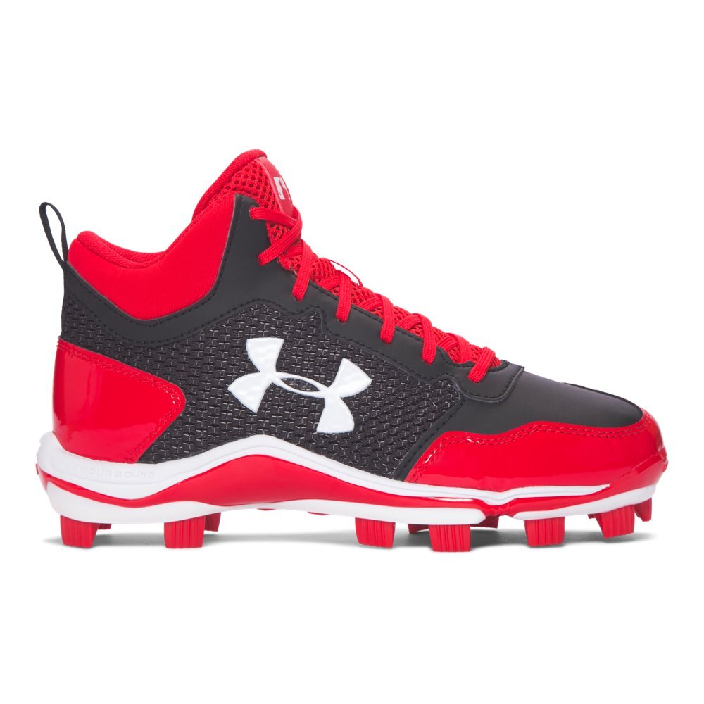 Under Armour Kids' Heater Mid TPU Baseball Cleats (4, Black/Red)