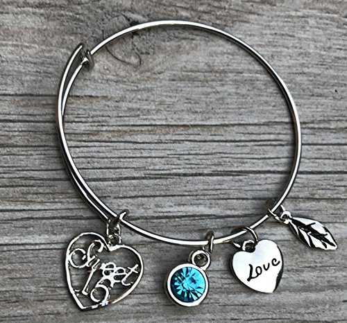 Personalized Sweet 16 Charm Bangle Bracelet with Birthstone, Custom Sweet Sixteen Jewelry Birthday Gift For Girls for $<!--$19.99-->