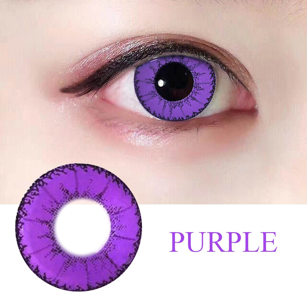 Women Multi-Color Colored Cute Charm and Attractive Fashion Contact Lenses Cosmetic Makeup Eye Shadow (Type 1, Purple)