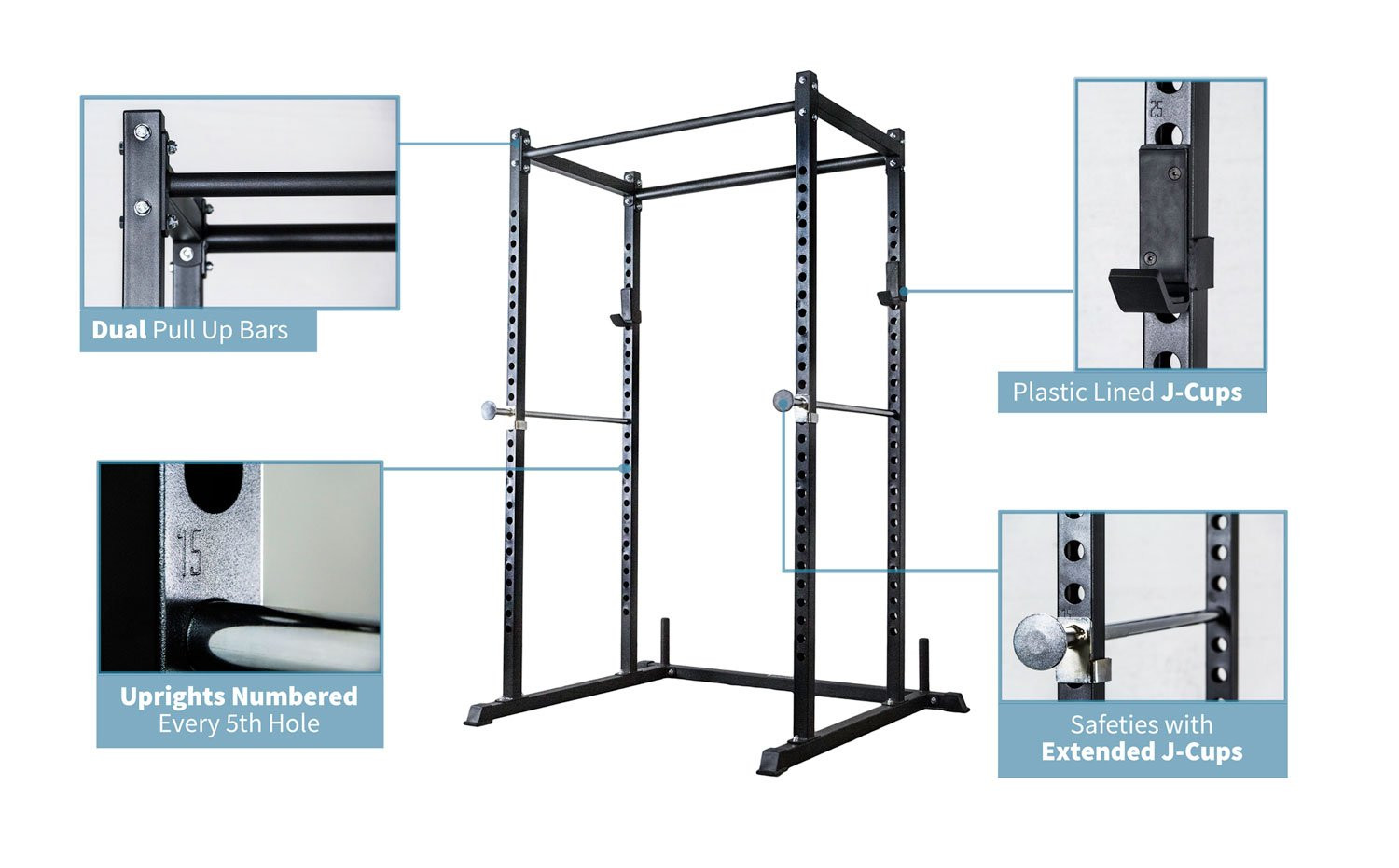 Rep Power Rack with Dual Pullup Bars, Numbered Uprights, 700 lb Rated, and Optional Upgrades