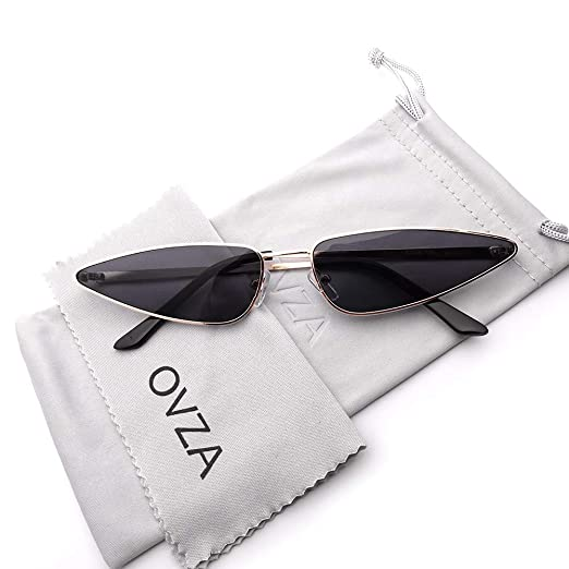 6f827d72f85 OVZA Small Narrow Triangle Sunglasses for Women Vintage Style (Golden Black)