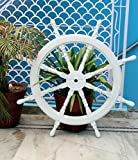 White Washed Ship Wheel 36'' Wood Ship's Wheels / Wood Ship Steering Wheel / Nautical Home Decor - Nagina International (36 Inches)