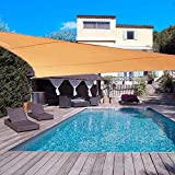 DJH sun shade sail uv block patio sail canopy for outdoor patio garden and swimming pools (10'x10'x10', Beige)