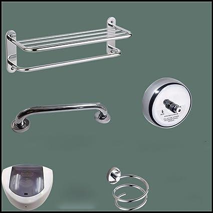 MOMO Dispensador de jabón de inducción de Acero Inoxidable, Kit de herrajes de baño,