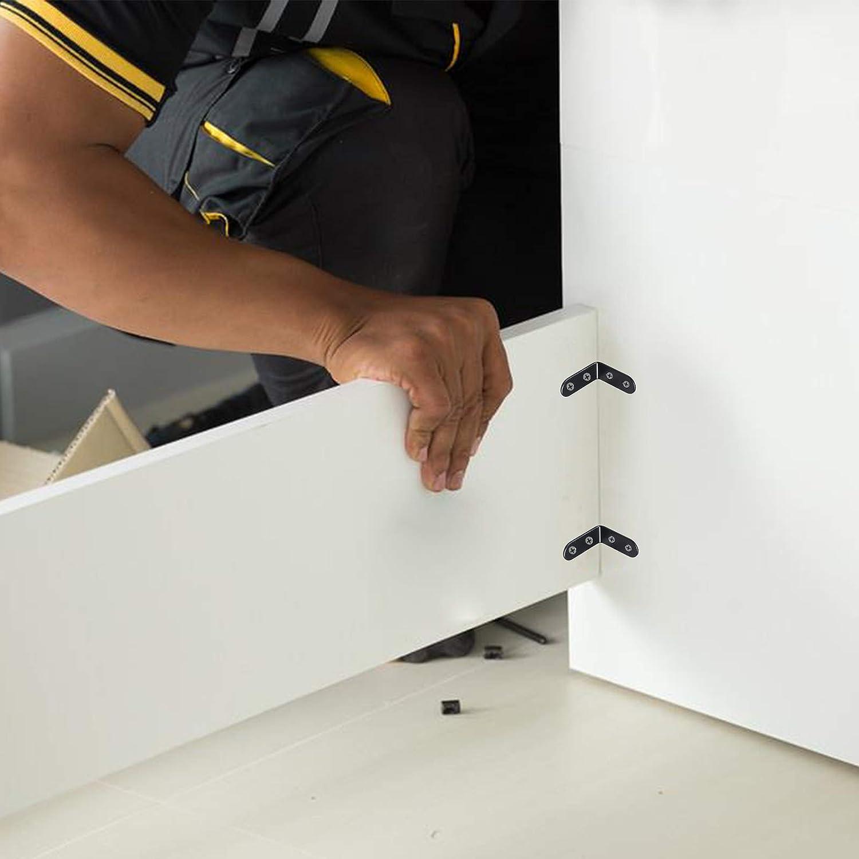Soporte en forma L de /ángulo recto LANMOK 20pcs corner brace de corchete angular de 90 grados c/ódigo de la esquina decorativo de acero inoxidable sujetadores para madera caj/ón de la mesa.