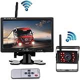 Camara marcha atras inalámbrica con sistema , pantalla TFT LCD HD de 7 pulgadas con 18 cámaras infrarrojas de visión nocturna a prueba de agua para camiones / autos / tractores / autobuses