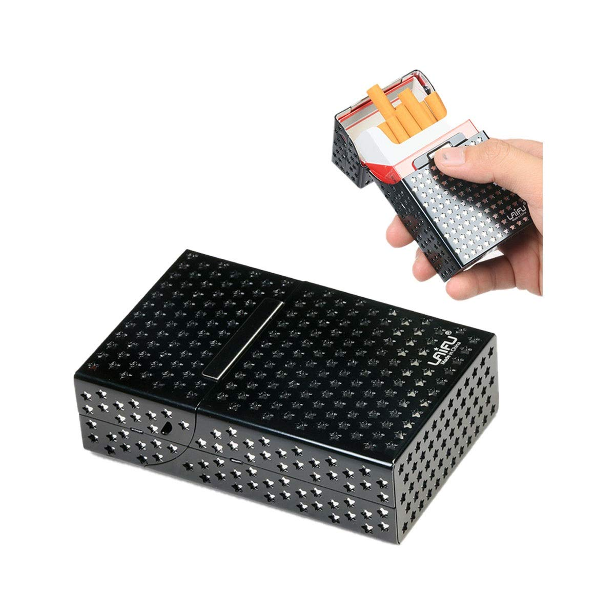 ZHONGYUE Cigarette Case, 20 Sticks, Stainless Steel Waterproof Pouch, Black, Red, Gold, Blue, Gray Unique Design, Sturdy and Lightweight. (Color : Blue)