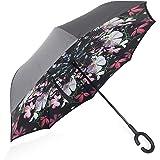 ZOMAKE Double Layer Inverted Umbrella Cars Reverse Folding Umbrella, UV Protection Windproof Large Straight Umbrella with C-Shaped Handle