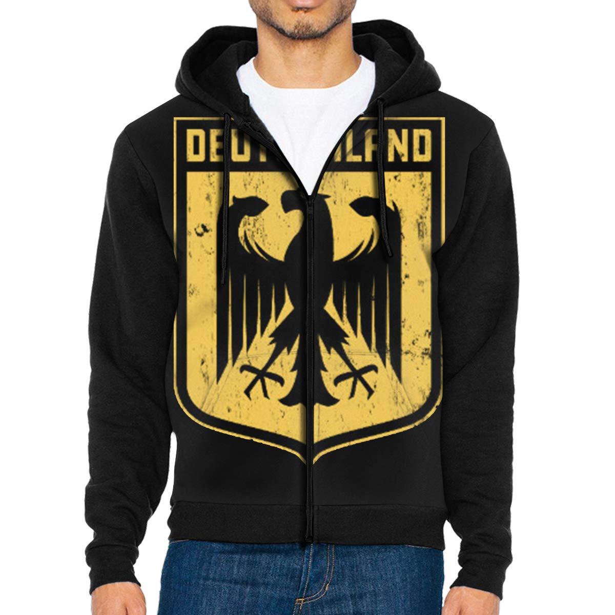 Deutschland Coat of Arms Mens Full-Zip Up Hoodie Jacket Pullover Sweatshirt
