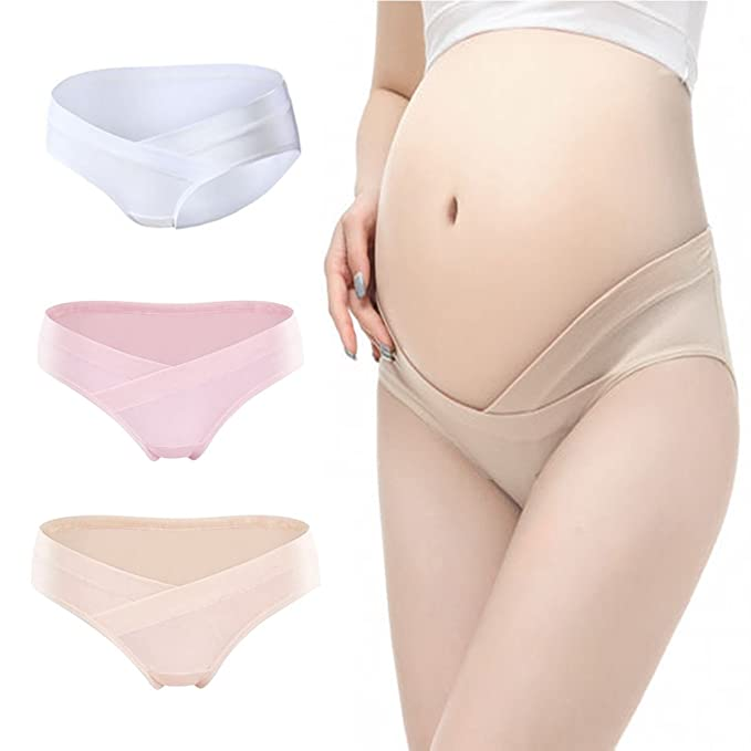 b6c502d2fb007 Image Unavailable. Image not available for. Color: 3 pack Pregnant Women Cotton  Panties Soft Low-waist Maternity ...