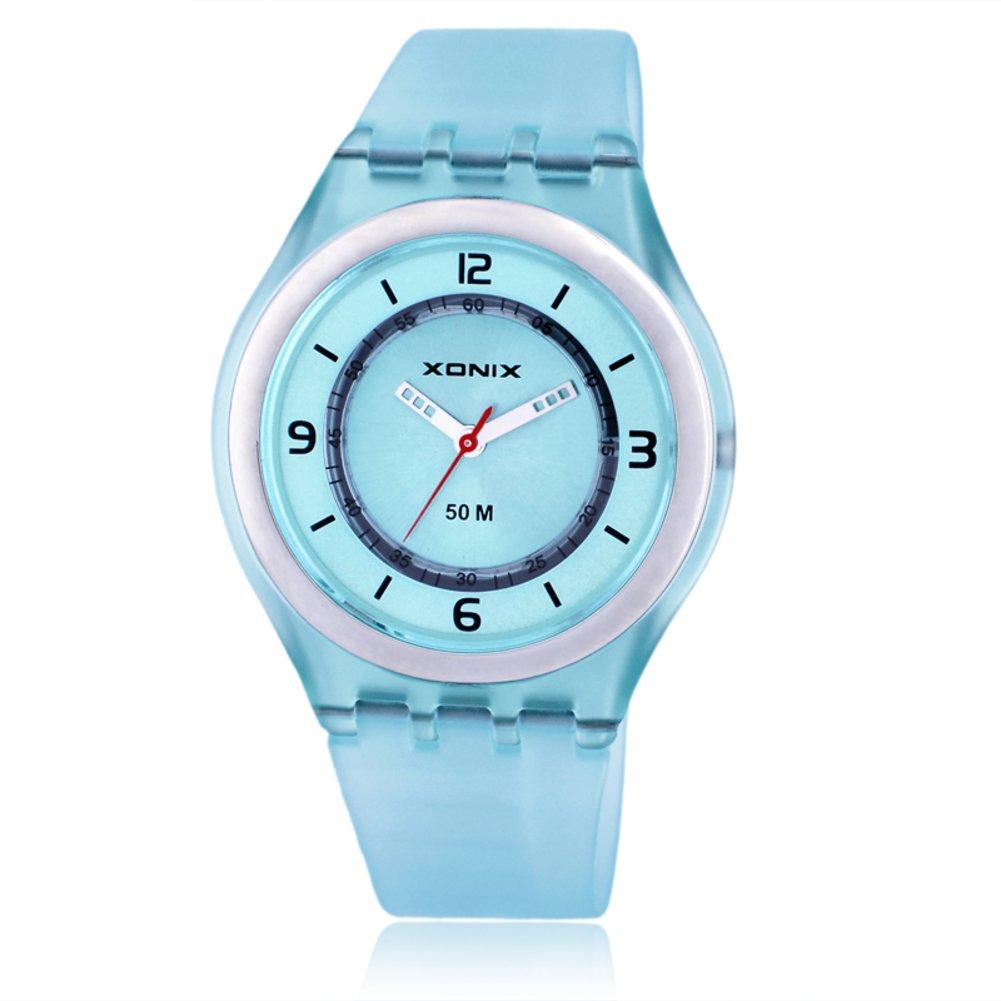 Children's rhinestone analog quartz watch,Jelly simple 50 m waterproof resin strap ultra thin girls or boys fashion wristwatch-J