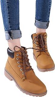 junkai Nouveau 2018 Automne Hiver Chaussures Femmes Talon Plat Bottes Martin Bottes Bottines Combat Randonnée Travail Haut Top Desert Chaussures à Lacets