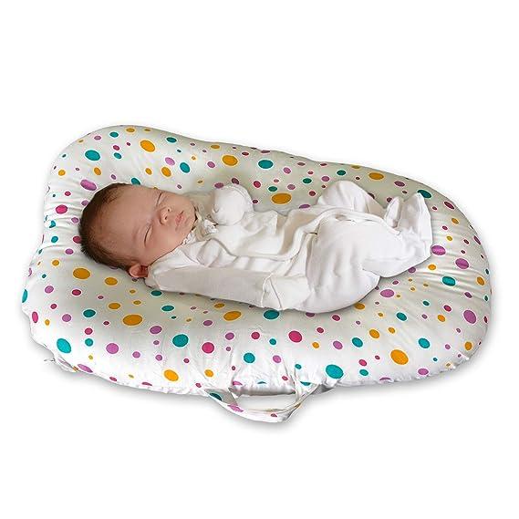 Cojín de Algodón para Bebés Recién Nacidos y Bebés 0-6 Meses Baby Nest - Almohada Portátil de Viaje (Punto de color): Amazon.es: Bebé