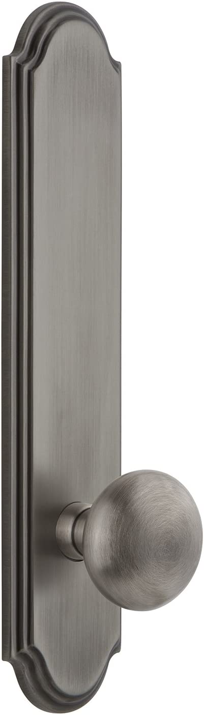"""Grandeur 803831 Hardware Arc Tall Plate Passage with Fifth Avenue Knob in Antique Pewter, Backset Size-2.375"""""""
