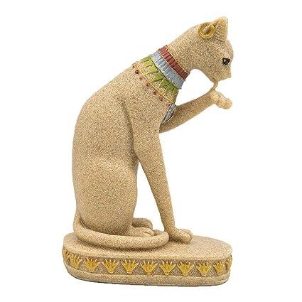 TUANMEIFADONGJI Piedra Arenisca Gato Egipcio Que Labra árbol Decorativo decoración casera muñeca Gorda para Acuario y