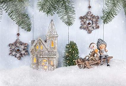 Ofila Kids Christmas Backdrop 6x4ft Polyester Fabric Winter Wonderland Photos Background Pine Twigs Snowflake Xmas Decor Wood Photos Children Xmas