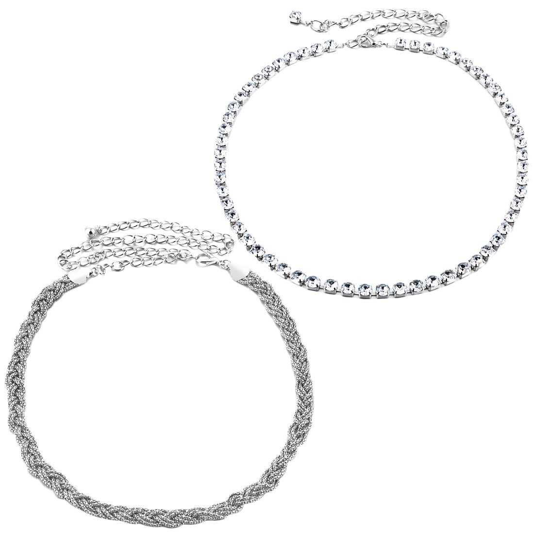 kilofly 2pc Women Elegant Silver Metal Thin Chain Clasp Skinny Belts Waist Bands AWA373set2