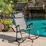 Belleze Rocking Zero Gravity Chair Shade Folding Chair Outdoor Patio Lounge Bungee Rocker w/Adjustable Canopy Shade, Gray