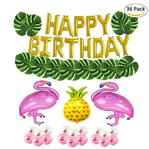 Famtasme 36pcs decorative foil balloon Flamingo Hawaii party simulation turtle leaf set by Famtasme