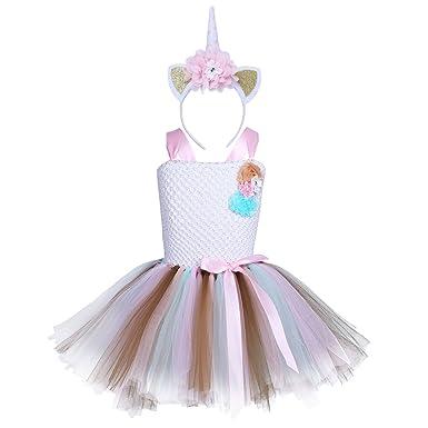 8fe37bd2cf84dc TiaoBug Enfant Fille Déguisement Licorne Tutu Robe Princesse sans Manche  Tulle Robe de Soirée et Serre-tête Licorne Cosplay Costume Halloween ...
